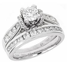 bridal sets for 1 95 ct t w diamond engagement set in 14k white gold i i1