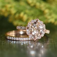 flower engagement ring vintage vintage floral morganite engagement ring wedding band