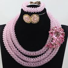 pink coloured beads necklace images Baby pink fashion chunky jewellery sets handmade bridal beads jpg