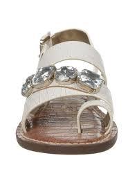 sam edelman dailey leather strappy rhinestone sandals in white lyst