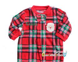 plaid fleece santa sleeper pajama for baby s