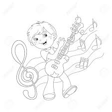 coloring page outline of cartoon boy playing guitar on stage