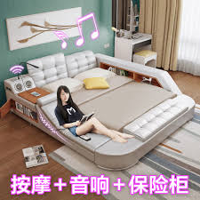 Storage Bed Usd 582 17 Massaging Leather Tatami Bed Skin Leather Art Bed