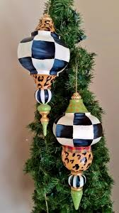 christmas ornaments and kissing balls giant black and white