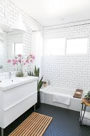 Mid Century Modern Bathroom Mid Century Modern Bathroom With White Subway Tiles On The Walls