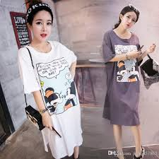 spring korean maternity dress long style short sleeved cotton