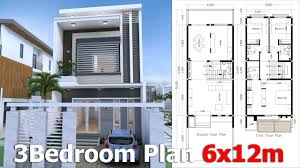 sketchup 3 story modern home plan 6x12m with could build 3 to 5