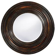 Decorative Framed Mirrors Medium Brown Wood Round Mirrors Wall Decor The Home Depot