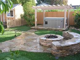 Firepit Bench by Rejuvenating Backyard Landscaping Idea With Outdoor Stone Fire Pit