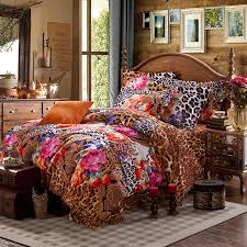 Cheetah Print Comforter Queen Brown Pink And Orange Jungle Safari Themed Leopard And Flower