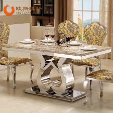 marble and stainless steel dining table dining table modern dining table small apartment hotel stainless