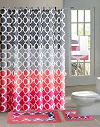 Pink And Black Bathroom Accessories by Amazon Com Black Diamond 15 Piece Bathroom Set 2 Rugs Mats 1