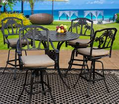 Solid Cast Aluminum Patio Furniture by Palm Tree Cast Aluminum Outdoor Patio 5pc Bar Set 4 Barstool 42