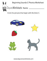 this letter c phonics worksheet helps preschoolers identify the