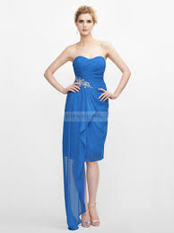 strapless chiffon cocktail party dress with applique on waist and