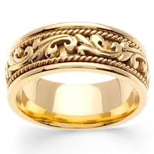 carved wedding bands 9mm deco cord 14k yellow gold mens wedding band goldenmine in