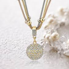 rhinestone pendant necklace images 2 sets of gold ball necklace with rhinestone pendant necklace jpg