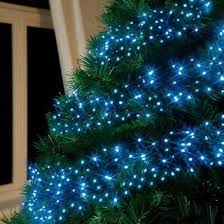 simple decoration blue tree lights snow covered with