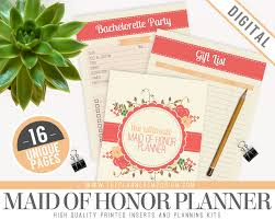 of honor planner book of honor wedding planner organizer kit instant