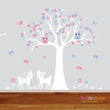 Custom Wall Decals For Nursery by Boy Twin Nursery Wall Decal Tree Pink Blue Sticker