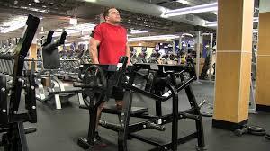 hammer strength flat bench standing shrug youtube