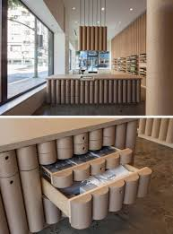 cardboard tubes have been used throughout this aesop store in