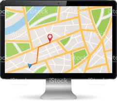Gps Map Gps Map On Computer Display Stock Vector Art 491314332 Istock