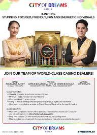 Casino Dealer Resume Join Our Team Of World Class Casino City Of Dreams Manila