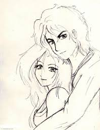 pencil sketch of couple with cool eyes love cartoon drawings