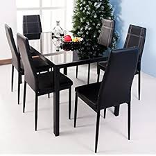 Amazoncom Piece Dining Table And Chair Set For  With Faux - Dining room table glass