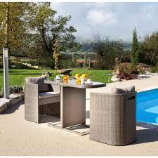 petit salon de jardin pour terrasse table pour balcon avec fauteuils arrondis gris bari 3