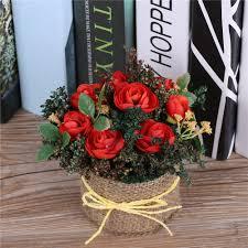 aliexpress com buy artificial tea rose flowers arrangements vase