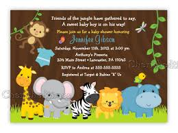 jungle friends or boy baby shower or birthday invitation
