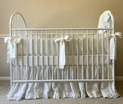 White Crib Set Bedding White Linen Baby Bedding Crib Bumpers Crib Skirt W