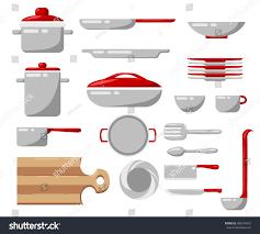 set kitchen utensils vector illustration cook stock vector
