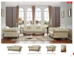 Leather Livingroom Furniture 2601 Ivory Leather Classic 3 Pcs Sets Living Room Furniture