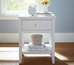 girls white bedside table emerson nightstand pottery barn kids