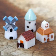 micro cottage 4pcs set mini resin church castle windmill shed cabin house fairy