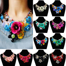 crystal collar statement necklace images Womens crystal flower pendant necklace choker bib chunky statement jpg