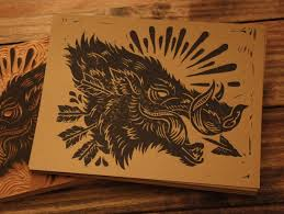 dire black line wild pig head in profile tattoo design