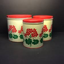 vintage 1950 u0027s kitchen canisters red geranium tin national can