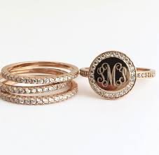 monogram rings gold we re loving the stacking trend and these adorable stacking