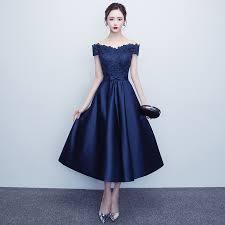 navy blue dress navy blue dresses tea length satin boat neck lace 2017 evening