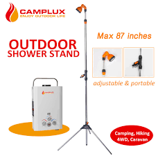 Portable Outdoor Shower Kit - outdoor poolside portable power shower kit hose connect tripod