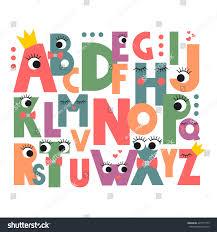cartoon alphabet eyes lashes on white stock vector 425717755