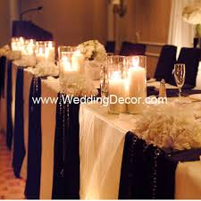 candle runners wedding decor table ivory linens black runners hanging