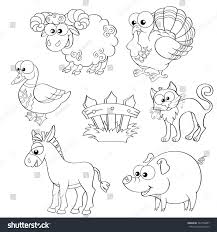 farm animal coloring book set cute cartoon farm animals sheep stock vector 342753887