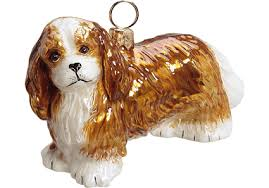 cavalier king charles spaniel blenheim glass ornament by