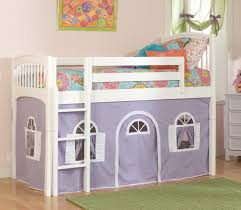 Bunk Beds Tents White Wooden Bunk Bed With Purple White Tent And Blue Pink Bed