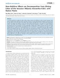 native plants in china non additive effects on decomposition from mixing litter of the